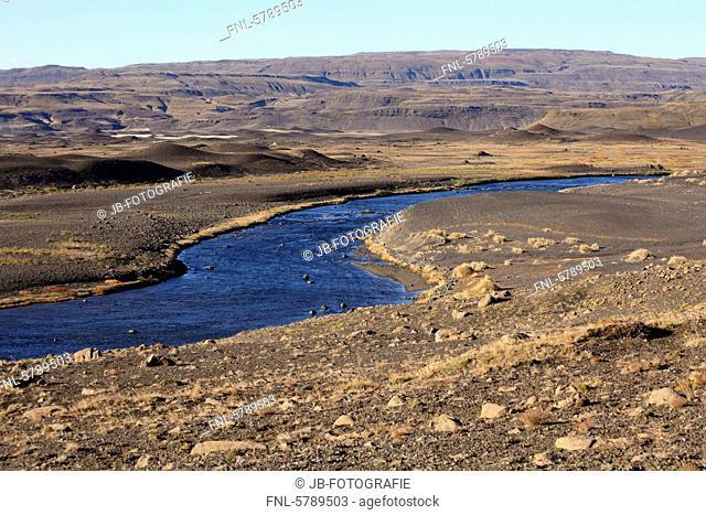 River Þjórsá flowing through Þjórsárdalur Valley, Iceland