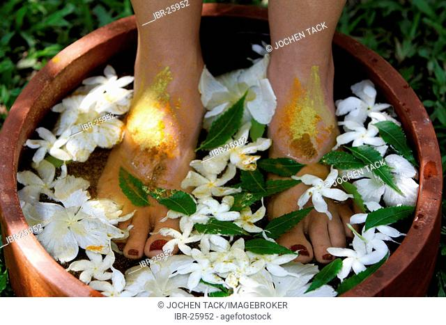 LKA, Sri Lanka : Siddhalepa Ayurveda Resort , Food massage, oiling, herb bath fot feet