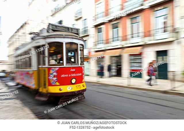 Tram in Chiado district, Lisbon, Portugal