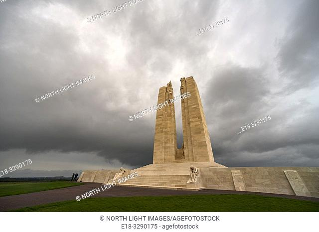 France, Arras, Vimy Ridge Memorial. World War I memorial site dedicated to the memory of Canadian Expeditionary Force members killed during the First World War