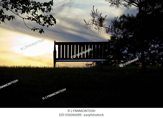 Empty Park Bench facing sunset in silhouette