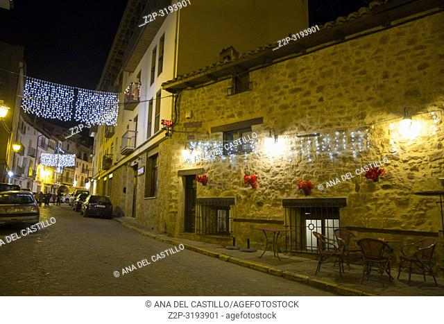 Christmas lights in Mora de Rubielos village Teruel Aragon Spain