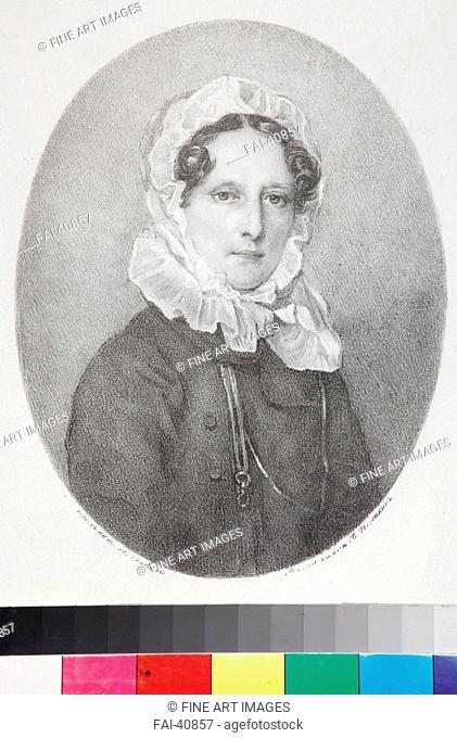 Portrait of Countess Anna Sergeievna Golitsyna, née Vsevolzhskaya (1779-1837) by Pogonkin, Vladimir Ivanovich (1793-after...