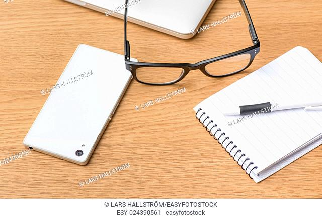 Close up of workplace office desk. Concept of education, work and writing notes