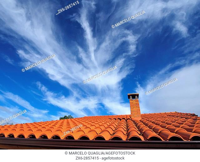 Tile roof. Pisón de Fondón organic farmhouse. Villandás village. Grado council. Asturias autonomous community. Spain
