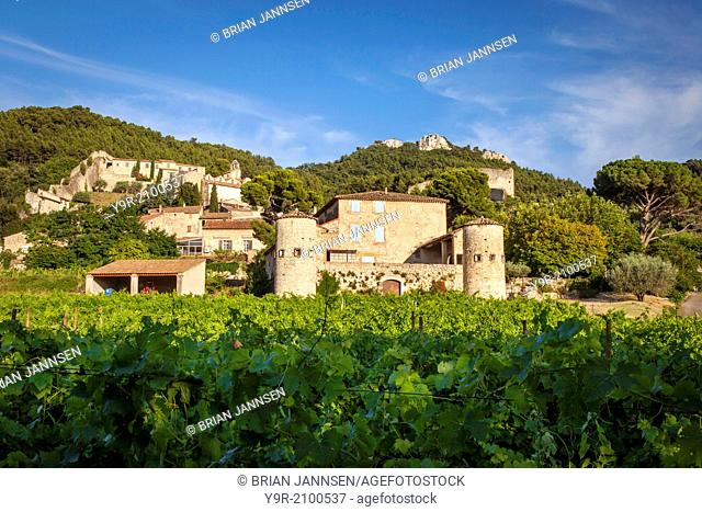 Vineyard and medieval town of Gigondas, Provence France