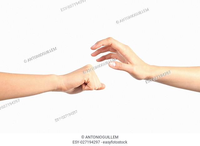 Rock paper and scissors hands gesture isolated on a white background. Paper wins