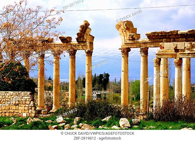 Ancient ruins of columns and arches, dating to the Roman era in Baalbek, Lebanon