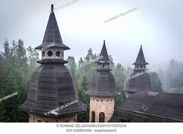 Roof of unfinished castle - unofficial tourist attraction in Lapalice village, Kashubia region in Poland. Building of castle began in 1979