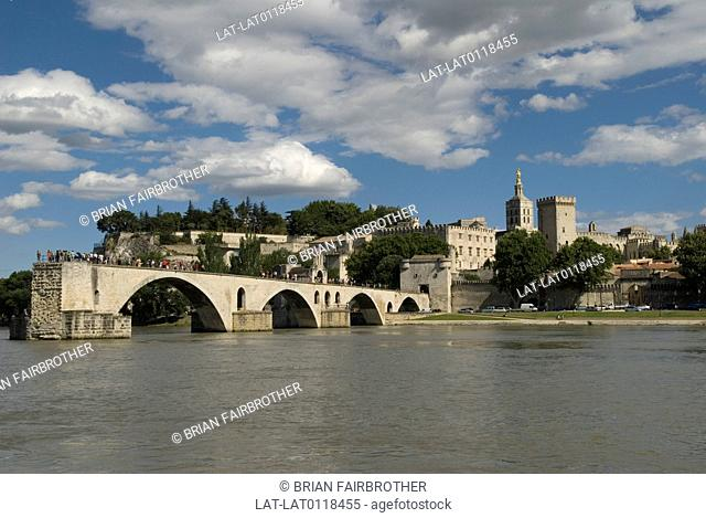 The Pont St Benezet,or Pont D'Avignon a three span bridge originally crossed the River Rhone to Palais des Papes. Built between 1171 and 1185 it collapsed many...