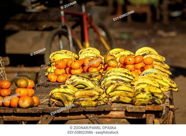 Bananas and mandarins for sale