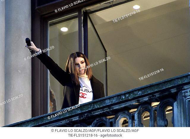 Laura Pausini performs during an event organized at the Megastore Mondadori in Piazza Duomo with fans in Milan, ITALY-15-12-2018