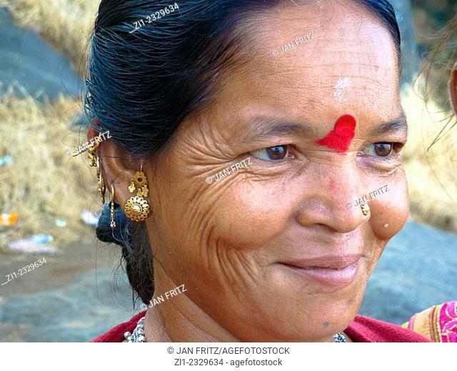 portrait of woman with tika at forehead in Junagadh, Gujarat, India