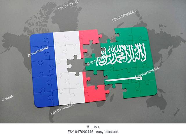 puzzle with the national flag of france and saudi arabia on a world map background. 3D illustration