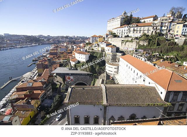 Aerial view of the old town in Oporto from Dom Luis the first bridge, Portugal