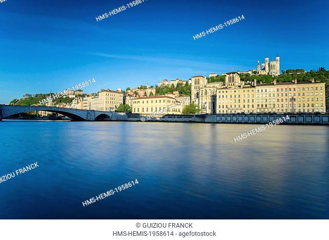 France, Rhone, Lyon, historical site listed as World Heritage by UNESCO, the Saone embankments, Saint Jean Cathedral and the Basilica Notre Dame de Fourviere in...