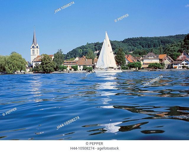 10508274, Switzerland, Europe, Thurgau, lake Constance, lake, sea, Untersee, Berlingen, view, village, water, sail boat