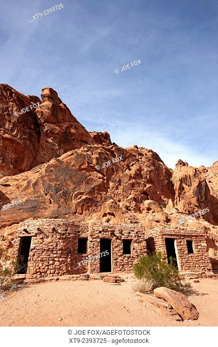 three historic stone cabins built by the civilian conservation corps in the 1930s valley of fire state park nevada usa