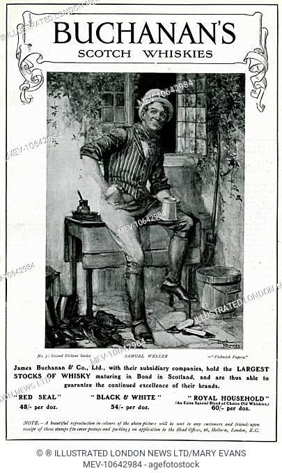 Advertisement for Buchanan's Scotch Whiskies, featuring a portrait of Samuel Weller, a character in Charles Dickens' Pickwick Papers