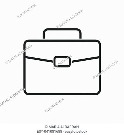Briefcase line icon on a white background. Vector illustration