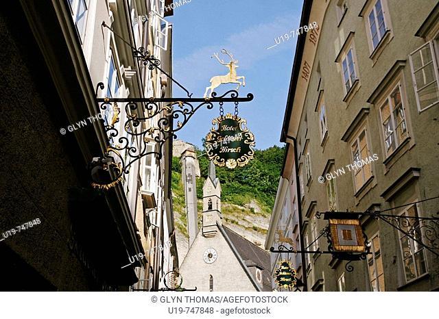 Wrought iron shop signs on the Getreidegasse, Salzburg, Austria