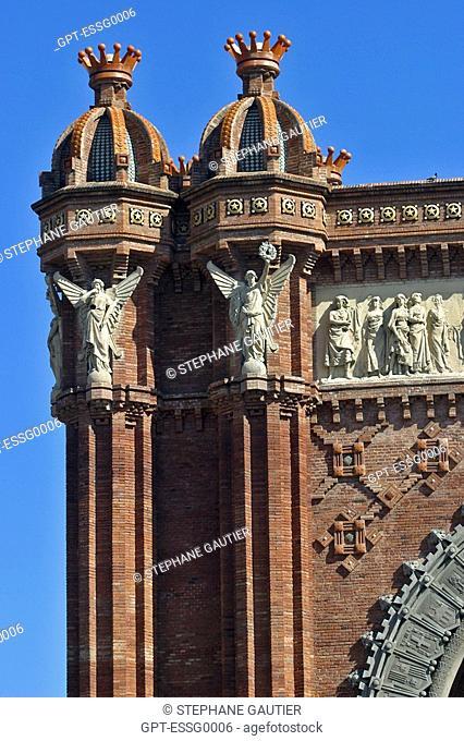 TRIUMPHAL ARCH, ARCHITECT JOSEP VILASECA I CASANOVA, BUILT FOR THE WORLD EXPO IN 1888, BARCELONA, SPAIN, EUROPE