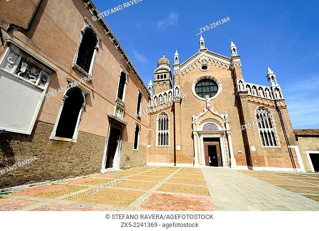 The gothic style facade of Madonna dell'Orto church - sestiere Cannareggio, Venice - Italy