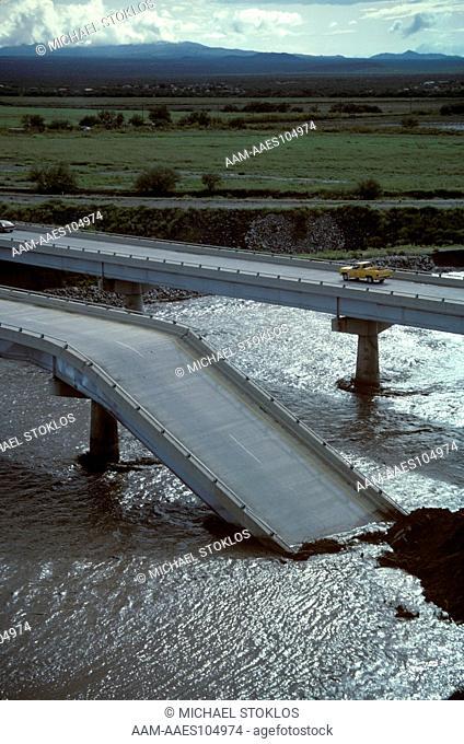 Flood Damage on I-19 N. Bound Bridge, Oct 83. Tucson, AZ