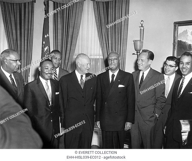 President Eisenhower with civil rights leaders. Earlier they discussed problems of school integration and other issues. L-R: Lester Granger