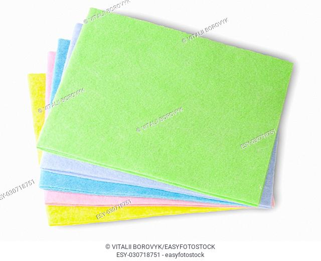 Multicolored Cleaning Cloths Isolated On White Background