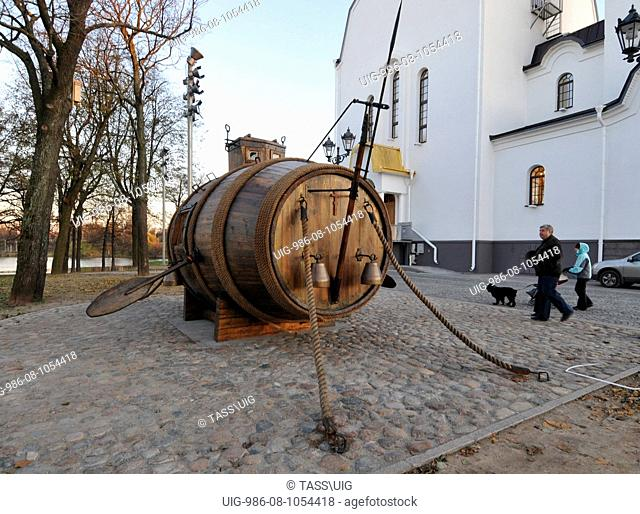 The replica of Russia's first prototype underground vessel (submarine) has been installed near the Saints Peter and Paul Cathedral in Sestroretsk