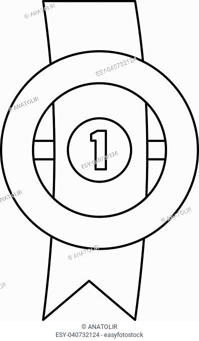 Award ribbon icon. Thin line illustration of award ribbon vector icon for any web design