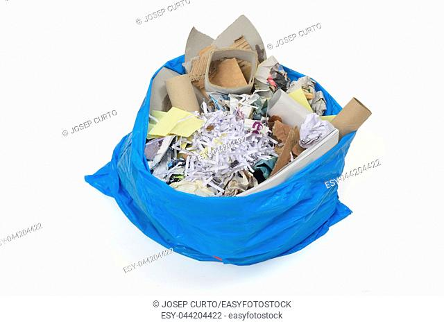 garbage bag full of paper for recycling