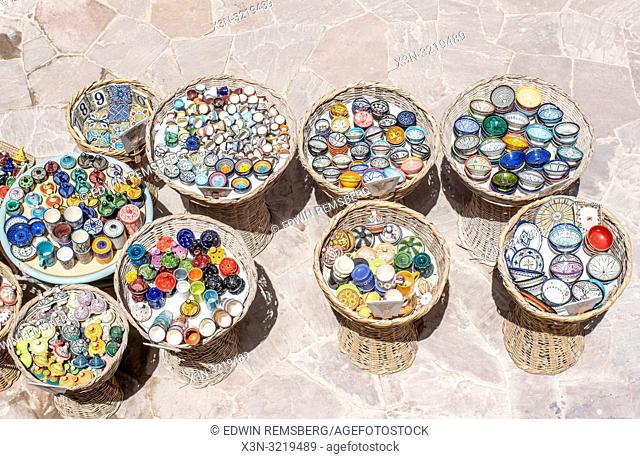 Patterned and Colorful Moroccan Pottery, Essaouira, Marrakesh-Safi, Morocco