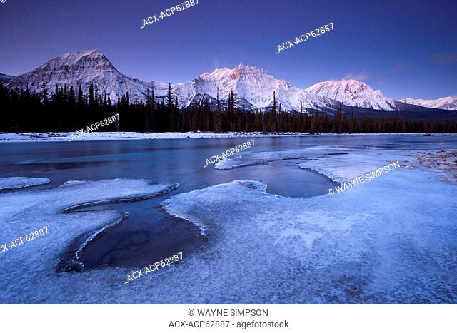 Sunrise at Athabasca River and Mount Fryatt in Jasper National Park, Alberta, Canada