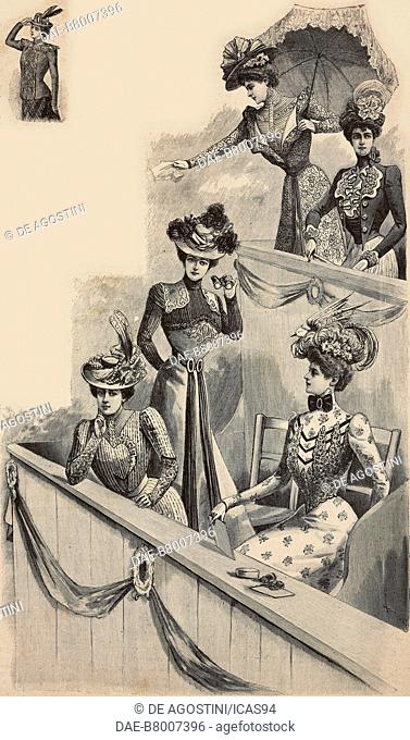 Women wearing clothes for horse racing meetings: (top) dress in patterned foulard; two-piece dress with embroidered corset; (bottom) dress in batiste; dress...