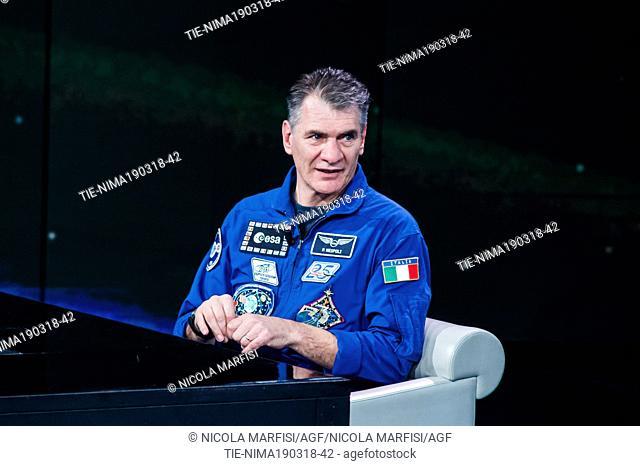 Astronaut Paolo Nespoli during the tv show Che tempo che fa, Milan, ITALY-18-03-2018