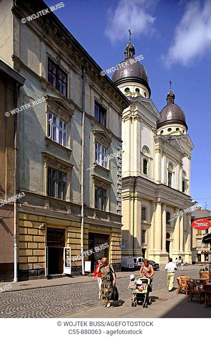 Lviv,Lvov,Krakovska street,church of Transfiguration,Western Ukraine