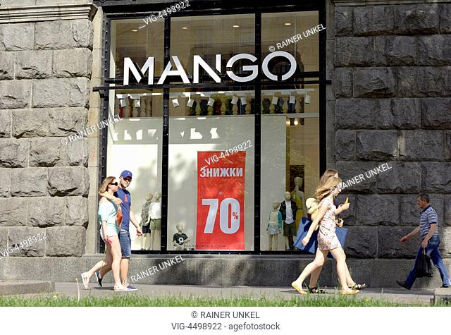 UKRAINE, KIEV, 01.07.2014, UKR , UKRAINE : Customers in front of a Mango store on Kreschtschatyk Street - Kiev, Kiev, Ukraine, 01/07/2014