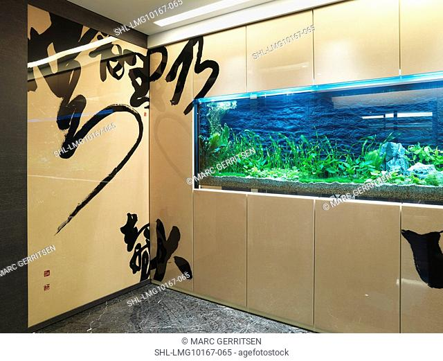 Large fish tank in modern home