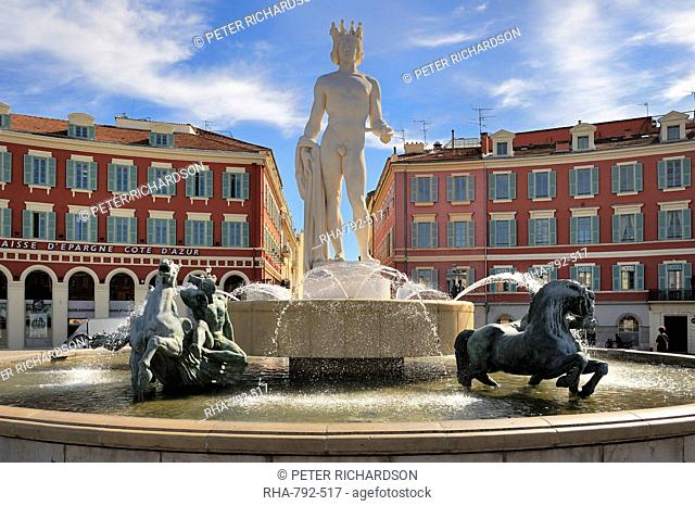 Fontaine du Soleil Fountain of the Sun, Place Massena, Nice, Alpes Maritimes, Provence, Cote d'Azur, French Riviera, France, Europe