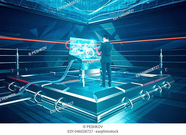 Thoughtful businessman using futuristic digital benchboard. Technology and progress concept. 3D Rendering
