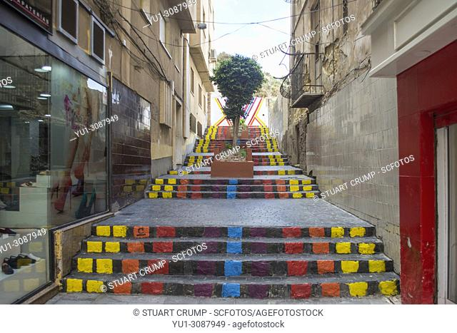 Painted steps on a side street in the Spanish city of Cartagena, Murcia