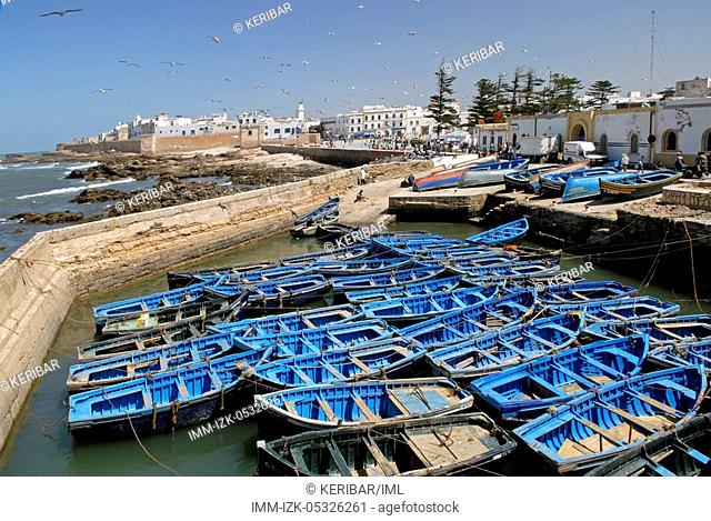 Essaouira, port and blue boats, Morocco, Africa