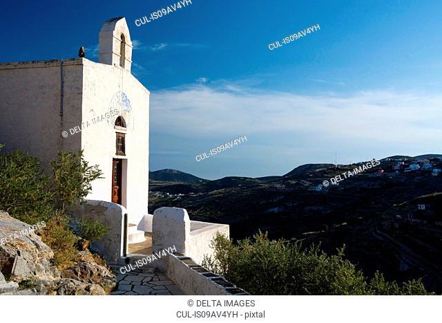 Whitewashed chapel at Ano Syros, Ermoupoli, Syros, Cyclades Islands, Aegean sea, Greece
