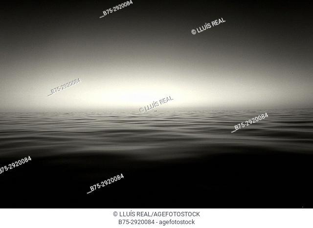 Horizon over sea, and distant ship. Mediterranean sea, France