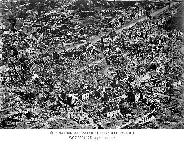 FRANCE Western Front -- 1918 -- Aerial view of damage in Vaux on the Western Front in France during the First World War -- Picture by Lightroom Photos
