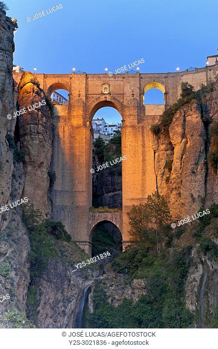 "New Bridge on the gorge """"Tajo"""", Ronda, Malaga province, Region of Andalusia, Spain, Europe"