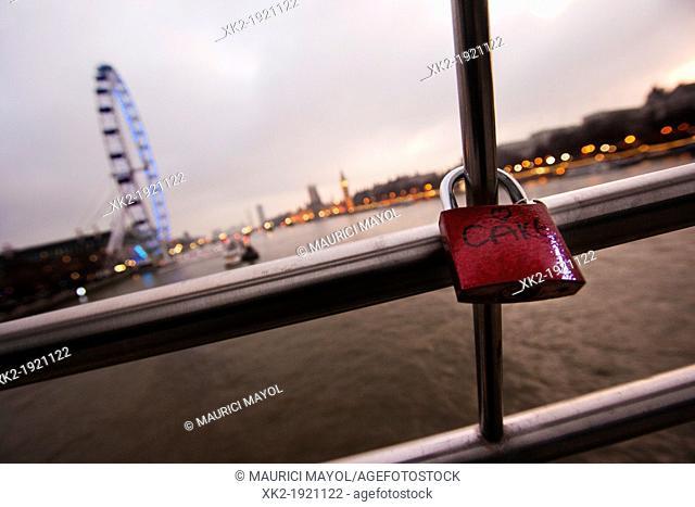 Romanthic padlock near london eye, London, UK