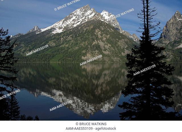 Grand Teton, reflection, over Jenny Lake, Grand Teton National Park, Wyoming, USA, digital capture